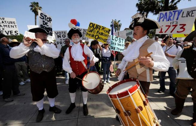 Activists participate in a tax revolt rally in Santa Barbara, California