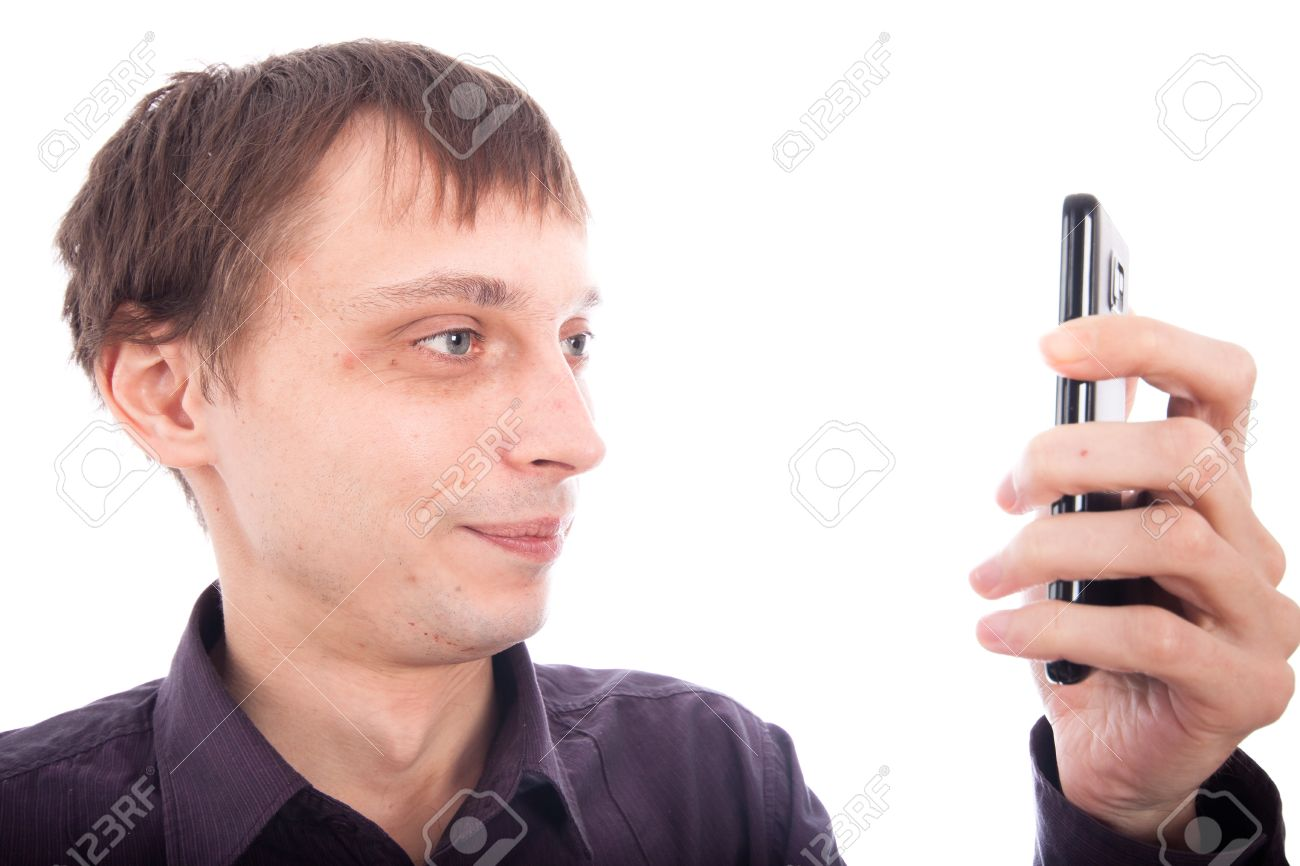 Man On Cell Phone : Weirdo man looking at cellphone isolated on white