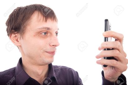 11979483-Weirdo-man-looking-at-cellphone-isolated-on-white-background--Stock-Photo